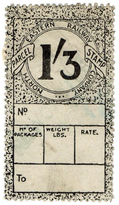 (I.B) North Eastern Railway : Parcel Stamp 1/3d