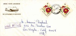 Ruanda Urundi Burundi 8F Thunbergia Diamond (2) 1966 Usumbura-1 Airmail to Lo...