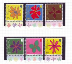 Isle of Man Sc 960-5 2002 McCartney Floral Sketches mint NH