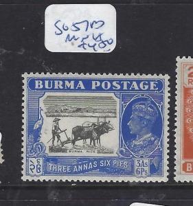 BURMA (P1312B) KGVI  3A 6P  COW  SG 57B   MNH