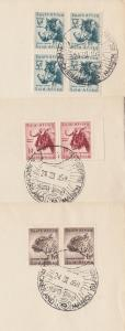 South Africa Sc 200-202, ½p-1½p multiples on 1958 Marion Island FDCs. Animals