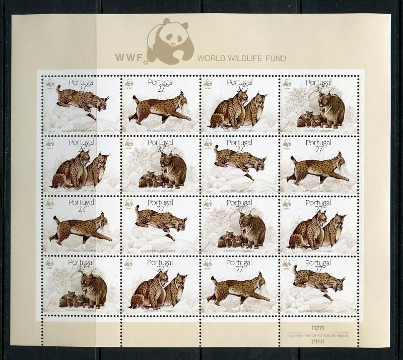PORTUGAL  WORLD WILDLIFE FUND LYNX  SHEET OF SIXTEEN   MINT NEVER HINGED