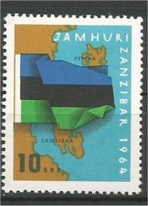 ZANZIBAR, 1964, MVLH 10sh, Map of Zanzibar and Pemba, flag Scott 317