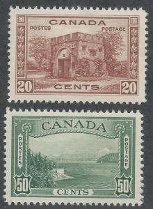 CANADA 1937 PICTORIAL 20C AND 50C