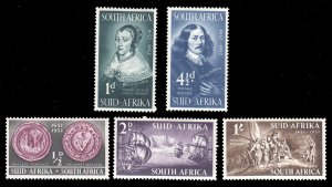 South West Africa SWA 1952 -  Cape of Good Hope Issue Ovpt MNH  set # 166-170