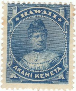Hawaii, Scott #37 - 1c Blue - Mint Hinged