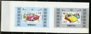 AJMAN  RENAULT AND GINETTA  UNCUT  SHEET OF  TWO  IMPERF SOUVENIR SHEETS  MINT
