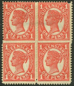QUEENSLAND-1897-1908 1d Vermilion. An AMM block of 4 Sg 257 creased lower stamps
