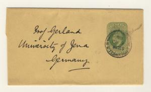GB - 1908 KEVII 1/2d Yellow-Green Wrapper used STOCKWELL to JENA, Germany