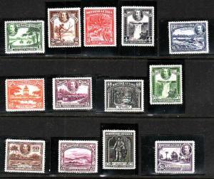 British Guiana-Sc#210-22-unused hinged KGV set-1934-S/H costs reflect shipping