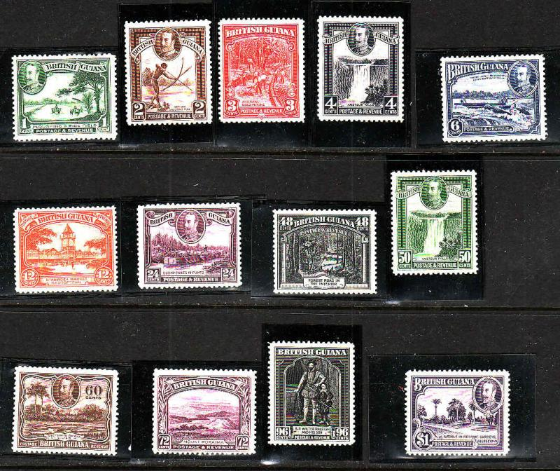 British Guiana-Sc#210-22-unused hinged KGV set-1934-S/H costs reflect shipping
