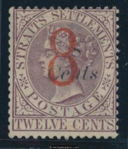 1884 Straits Settlements 8c on 8c on 12c Dull purple SG 80 MNG