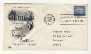 US - 1956 - Scott 1047 FDC - 20c MONTICELLO, home of Thomas Jefferson -