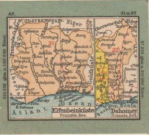 Germany Schaubek Poster Stamp IVORY COAST DAHOMEY Map A6094