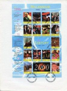 NEVIS 2000 MILLENNIUM 12th CENTURY  1990/1999 DIANA CLINTON MANDELA  SHEET FDC