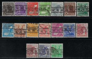 Germany AM Post Scott # 600 - 616, used, incl # 614a, cpl. set
