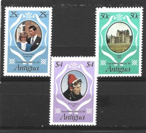 Antigua 1981 Royal Wedding Set MNH