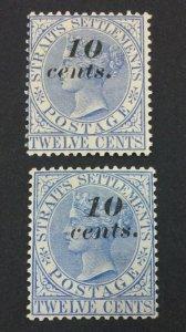 MOMEN: MALAYA STRAITS SG #45,45a 1880-1 MINT OG H £170 LOT #61090