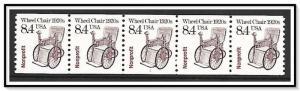 US Precancel #2256 Wheel Chair Coil Strip Plate #1 MNH