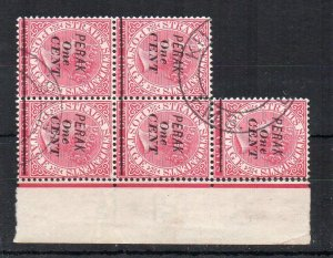 Malaysia Straits Settlemnets Perak opt and surcharge FU CDS block of 5