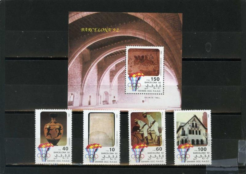 SAHARA OCC 1992 OLYMPIC GAMES BARCELONA SET OF 4 STAMPS & S/S  MNH