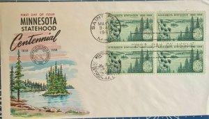FLUEGEL 1106 Minnesota Statehood Saint Paul Land of Lakes Block of 4