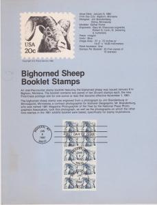 US SP573 Bighorned Sheep booklet pane Souvenir Page #1949a