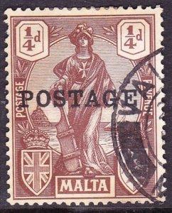 MALTA 1926 KGV 1/4d Brown SG143 Used