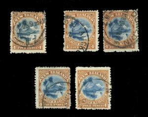 NEW ZEALAND SG 322, 322d & 322e 4d BLUE & BROWN/ BLUISH p.14 x5 examples -shades