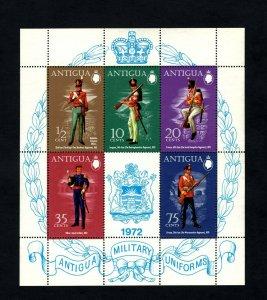 ANTIGUA - 1972 - BRITISH MILITARY UNIFORMS - PRIVATE - ARTILLERY + MNH S/SHEET!