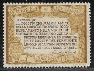 San Marino 257A, 1l Roosevelt Quotation, MH, VF