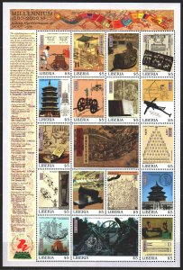 Liberia. 1999. ml 2506-22. Millennium, the history of Chinese discoveries and...