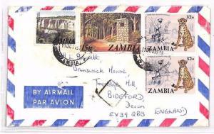 ZAMBIA Lusaka GB Devon Airmail Cover CHEETAH 1979 XX96