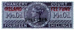 (I.B) QV Revenue : Ireland Chancery Fee Fund 14/- (specimen)