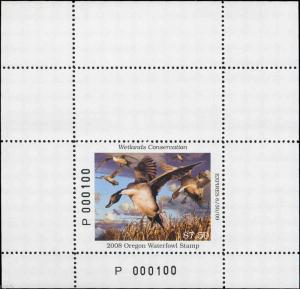 OREGON #25A 2008 STATE DUCK STAMP PINTAIL  MINI SHEET by Robert Steiner
