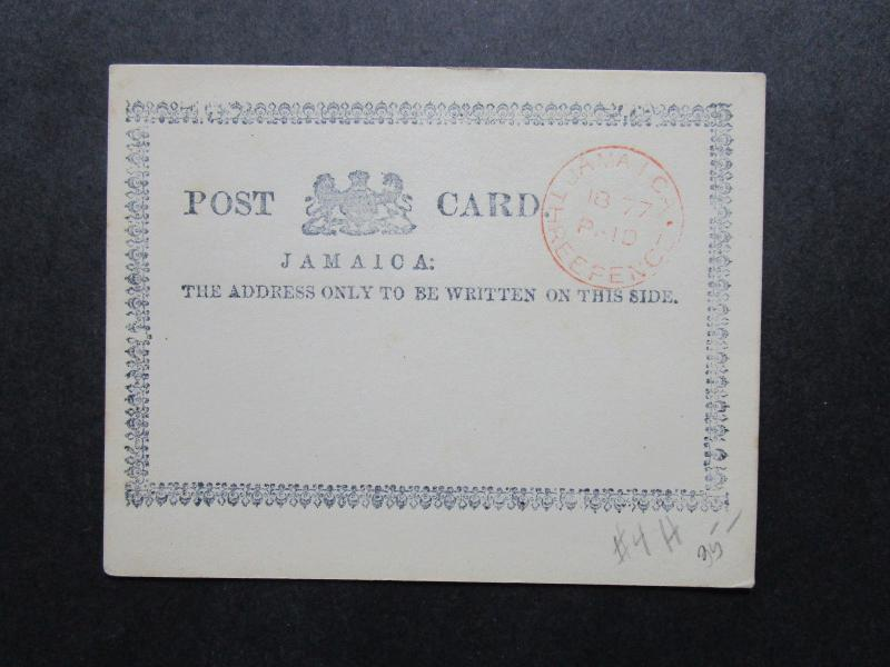 Jamaica 1877 Three Pence Paid Handstamp on Post Card - Z7214