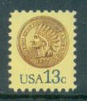1734 13c Indian Head Penny Fine MNH Zip Copy Right Blk/8 LR F18705