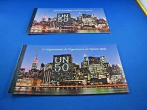 UNITED NATIONS  -  SCOTT # 670 NY  -UN 50 YEARS BOOKLET-LOT OF 2   MNH  (ss125)