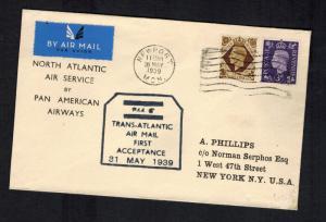 1939 Newport England First Flight Cover to USAvia PAA FFC Pan American Airways