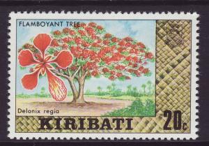 1980 Kiribati 20c Flamboyant Tree No Wmk Mint