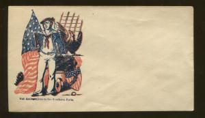 1860's United States Patriotic Civil War Era Navy Postal Cover Unsealed