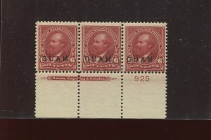 Guam Scott 6 Overprint Mint Plate Strip # of 3 Stamps (Stock By 713)