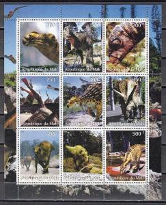 Mali, 1998 Cinderella issue. Dinosaurs sheet of 9.