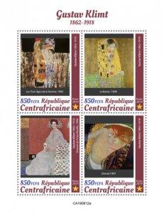 C A R - 2019 - Gustav Klimt - Perf 4v Sheet  - M N H