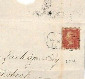 GB LATE FEE MAIL 1856 Penny Red Cover London *38* Duplex {samwells-covers}AE16
