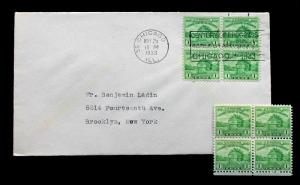 US STAMP Sc# 728 BLOCK  +  FDC FORT DEARBORN CHICAGO BLOCK - May 25, 1933.