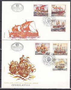 Yugoslavia, Scott cat. 1966 a-f. Tall Ships issue. 2 First day covers. ^