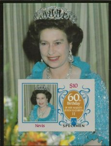 NEVIS 1986 60 BIRTHDAY QUEEN ELIZABETH,OVERPRINT SPECIMEN SOUVENIR SHEET IMPERF