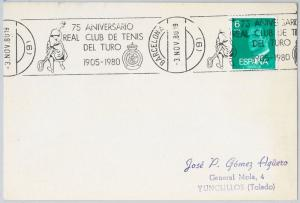 Sport TENNIS  -  POSTAL HISTORY - SPAIN : Card with special postmark 1986