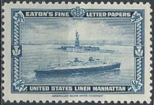 Eaton's Fine Letter Papers, US liner Manhattan (1939) (mh)